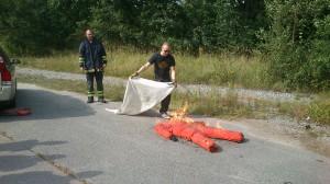 Släckning av brand i kläder