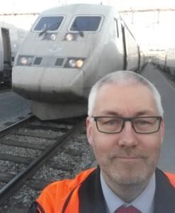 Selfie på bangården i Hagalund